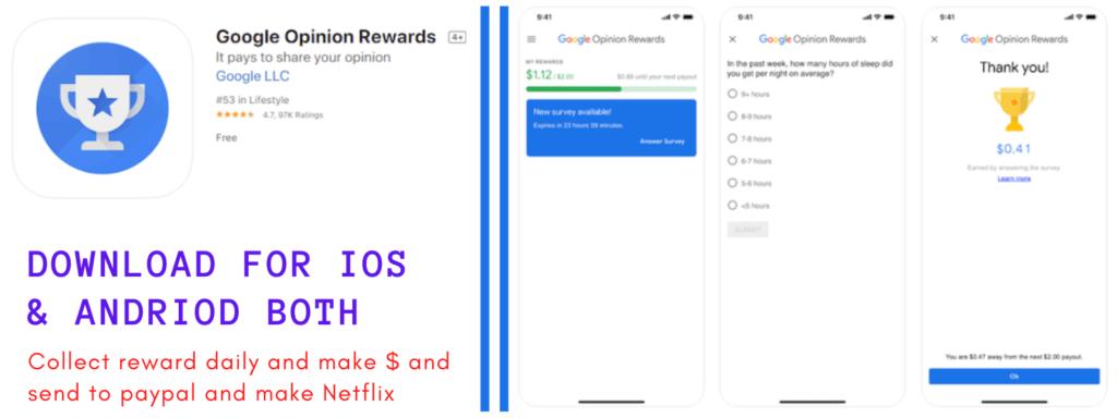 GET Free Netflix Accounts Through Google Opinion Rewards